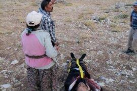 Karaman'da kayalıklardan düşen çoban böyle kurtarıldı