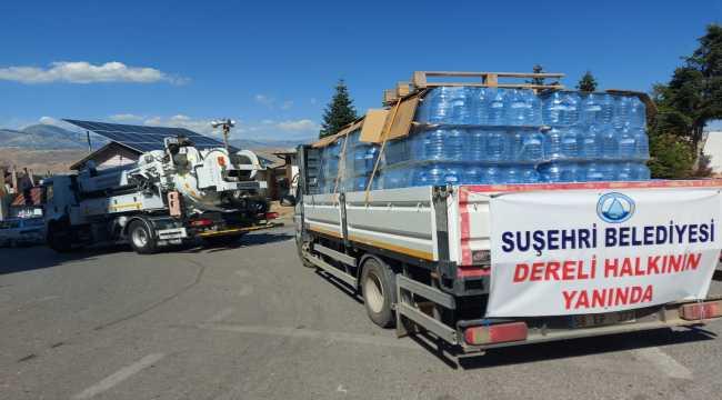 Suşehri'nden Giresun'a içme suyu ve köpek maması desteği