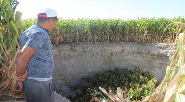Konya'da mısır ekili tarlada 30 metre çapında 15 metre derinliğinde yeni obruk oluştu