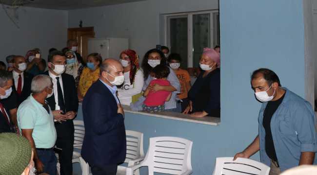 Bakan Soylu, Hatay'daki yangın bölgesinde incelemelerde bulundu