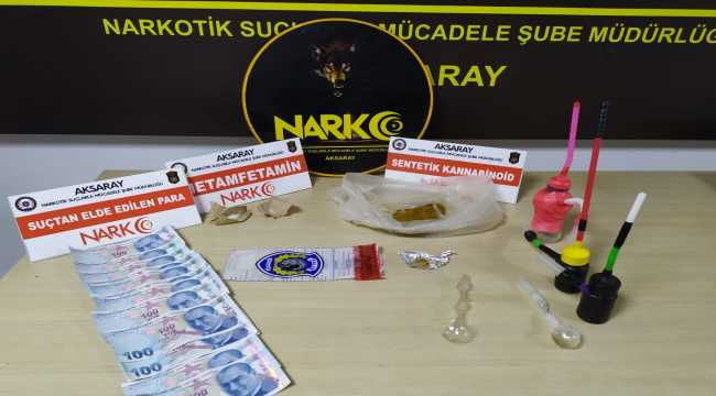 Aksaray'da koltuk değneği içine gizlenmiş uyuşturucuyu narkotik köpeği buldu