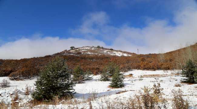 Kar yağan Geminbeli Geçidi'nde sonbaharda renk cümbüşü oluştu