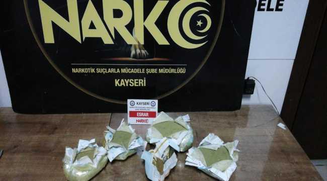 Kayseri'de aracın ses sisteminde 2,7 kilogram esrar ele geçirildi