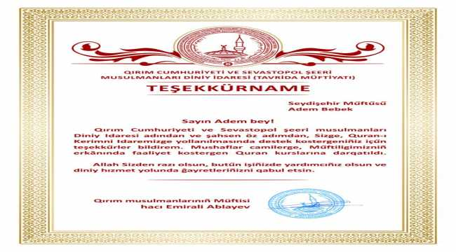 Kırım Müftülüğünden Seydişehir Müftülüğüne teşekkür belgesi
