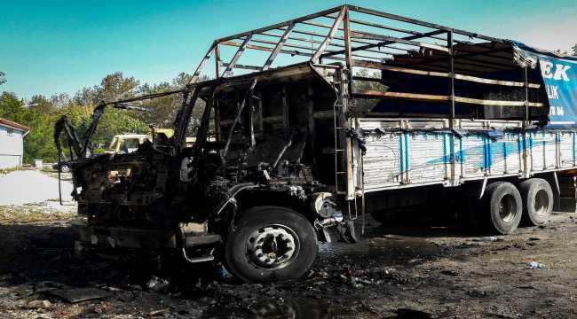 Konya'da park halindeki kamyon kundaklandı