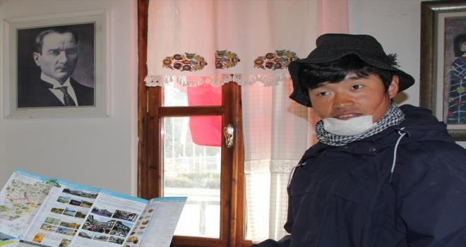 Bisikletiyle dünya turuna çıkan Japon genç Beypazarı'na geldi
