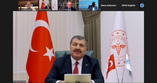 Sağlık Bakanı Koca, Dünya Sağlık Örgütü Medya Brifingi'ne katıldı: (1)