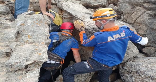 Konya'da kayalıklarda sıkışan oğlağı AFAD ekipleri kurtardı