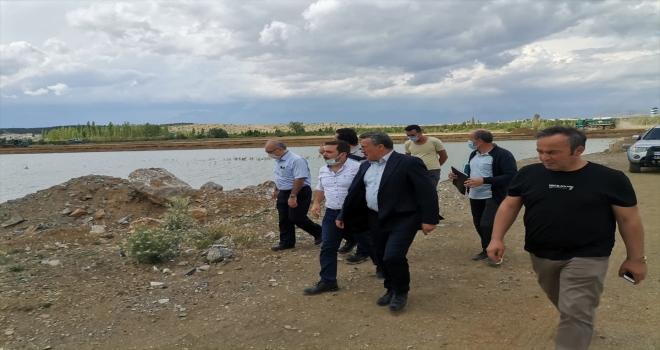 Seydişehir'de yapımı devam eden DSİ çalışmalarında inceleme