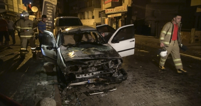Kırıkkale'de park halindeki araç yandı