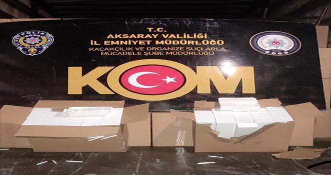 Aksaray'da 9 milyon makaron ele geçirildi