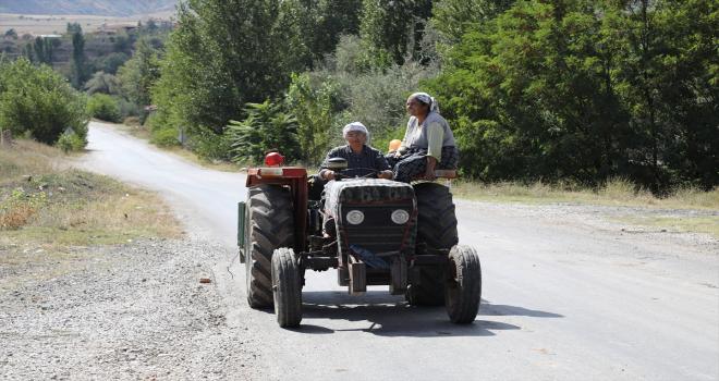 Traktör kullanan 74 yaşındaki kadın bağ bahçe işlerini kendi yapıyor