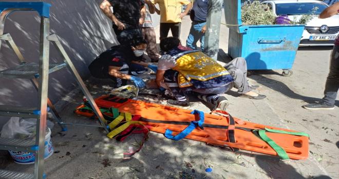 Zeytin toplamak isterken merdivenden düşen kişi yaralandı
