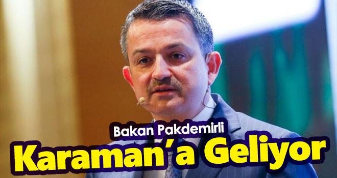 Tarım ve Orman Bakanı Pakdemirli Karaman'a Geliyor