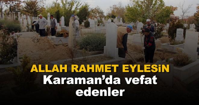 29 Aralık Karaman'da vefat edenler