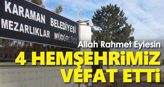 9 Eylül Karaman'da vefat edenler