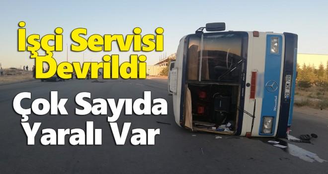 Karaman'da Servis Otobüsü Devrildi