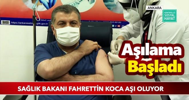 İlk Covid-19 Aşısı Sağlık Bakanı Koca'ya Yapıldı