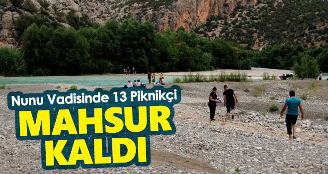 Karaman'daki Nunu Vadisinde mahsur kalan 13 piknikçi kurtarıldı