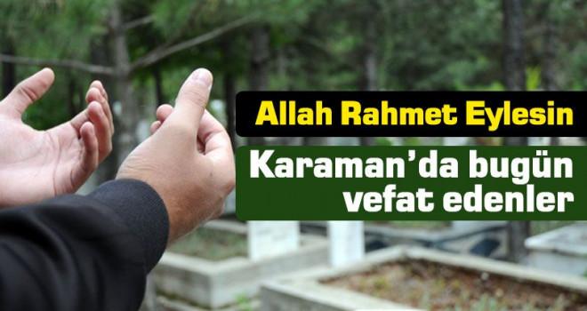 2 Haziran Karaman'da vefat edenler