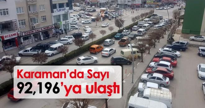 Karaman'daki Araç Sayısı 92,196'ya Ulaştı