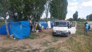 Tarım işçilerinin kaldığı çadırlar dezenfekte edildi