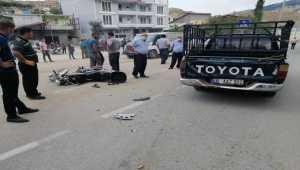 Kahramanmaraş'ta pikapla çarpışan motosiklet sürücüsü yaralandı