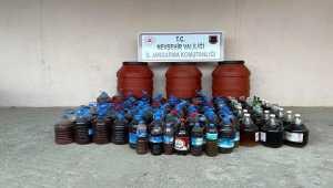Nevşehir'de 1357 litre kaçak içki ele geçirildi