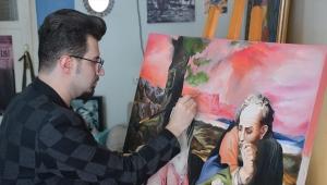 İlk sergisini 10 yaşında açan genç sanatçı, Kovid-19'un etkilerini tuvaline yansıttı