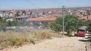 Akşehir'de otluk alanda çıkan yangın büyümeden söndürüldü
