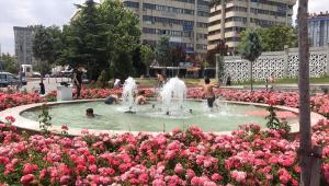 Konya'da sıcaktan bunalan çocuklar tehlikeye aldırmadan süs havuzlarına giriyor