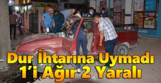 Karaman'da dur ihtarına uymayan otomobil kaza yaptı: 2 yaralı