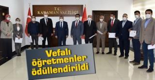 Karaman'da öğretmenlere başarı belgeleri verildi