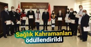 Karaman Valisi Işık, sağlık çalışanlarını başarı belgesi ile ödüllendirdi