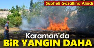 Karaman'da tarlada çıkan, elma bahçesine de sıçrayan yangın söndürüldü