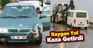 Karaman'da kayganlaşan yol kaza getirdi